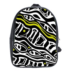 Yellow, Black And White Abstract Art School Bags (xl)  by Valentinaart