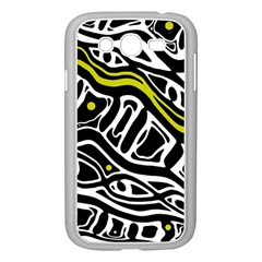 Yellow, Black And White Abstract Art Samsung Galaxy Grand Duos I9082 Case (white) by Valentinaart