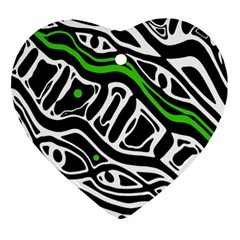 Green, Black And White Abstract Art Ornament (heart)  by Valentinaart