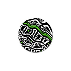 Green, Black And White Abstract Art Golf Ball Marker by Valentinaart