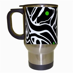Green, Black And White Abstract Art Travel Mugs (white) by Valentinaart
