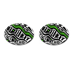 Green, Black And White Abstract Art Cufflinks (oval) by Valentinaart