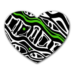 Green, Black And White Abstract Art Heart Mousepads by Valentinaart