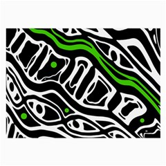 Green, Black And White Abstract Art Large Glasses Cloth (2 Side) by Valentinaart