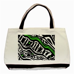 Green, Black And White Abstract Art Basic Tote Bag (two Sides) by Valentinaart