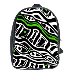 Green, Black And White Abstract Art School Bags(large)  by Valentinaart
