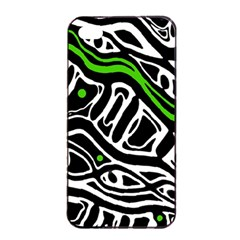 Green, Black And White Abstract Art Apple Iphone 4/4s Seamless Case (black) by Valentinaart