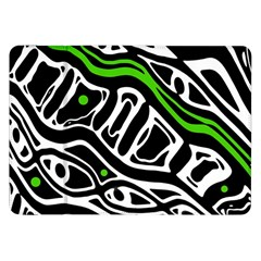 Green, Black And White Abstract Art Samsung Galaxy Tab 8 9  P7300 Flip Case by Valentinaart