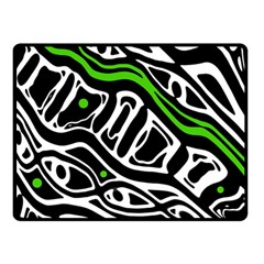 Green, Black And White Abstract Art Double Sided Fleece Blanket (small)  by Valentinaart