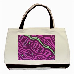 Purple And Green Abstract Art Basic Tote Bag by Valentinaart