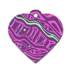 Purple And Green Abstract Art Dog Tag Heart (two Sides) by Valentinaart