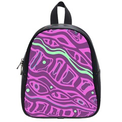 Purple And Green Abstract Art School Bags (small)  by Valentinaart