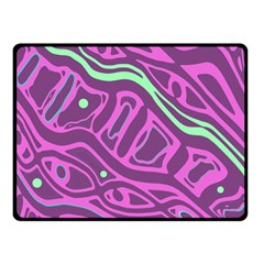 Purple And Green Abstract Art Double Sided Fleece Blanket (small)  by Valentinaart