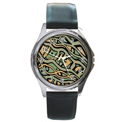 Green Abstract Art Round Metal Watch by Valentinaart