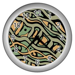 Green Abstract Art Wall Clocks (silver)  by Valentinaart