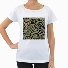 Green Abstract Art Women s Loose Fit T Shirt (white) by Valentinaart