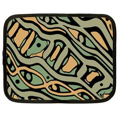 Green Abstract Art Netbook Case (xl)  by Valentinaart