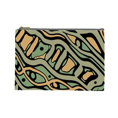 Green Abstract Art Cosmetic Bag (large)  by Valentinaart
