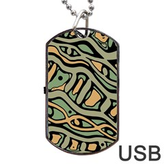 Green Abstract Art Dog Tag Usb Flash (two Sides)  by Valentinaart