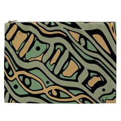 Green Abstract Art Cosmetic Bag (xxl)  by Valentinaart