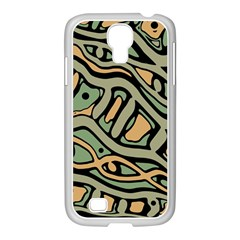 Green Abstract Art Samsung Galaxy S4 I9500/ I9505 Case (white) by Valentinaart