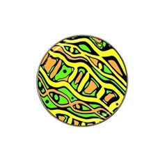 Yellow, Green And Oragne Abstract Art Hat Clip Ball Marker (4 Pack) by Valentinaart