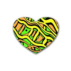Yellow, Green And Oragne Abstract Art Heart Coaster (4 Pack)  by Valentinaart