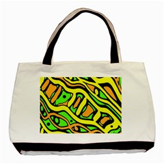 Yellow, Green And Oragne Abstract Art Basic Tote Bag (two Sides) by Valentinaart