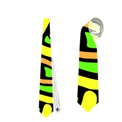 Yellow, Green And Oragne Abstract Art Neckties (one Side)  by Valentinaart
