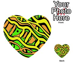 Yellow, Green And Oragne Abstract Art Multi Purpose Cards (heart)  by Valentinaart