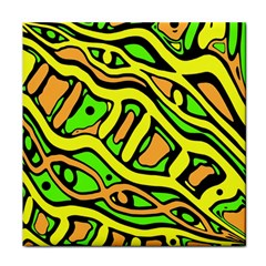 Yellow, Green And Oragne Abstract Art Face Towel by Valentinaart