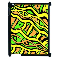 Yellow, Green And Oragne Abstract Art Apple Ipad 2 Case (black) by Valentinaart
