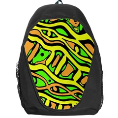 Yellow, Green And Oragne Abstract Art Backpack Bag by Valentinaart