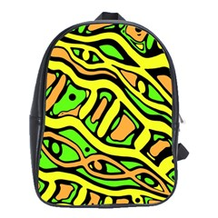 Yellow, Green And Oragne Abstract Art School Bags (xl)  by Valentinaart