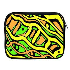 Yellow, Green And Oragne Abstract Art Apple Ipad 2/3/4 Zipper Cases by Valentinaart