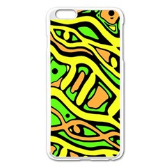 Yellow, Green And Oragne Abstract Art Apple Iphone 6 Plus/6s Plus Enamel White Case by Valentinaart