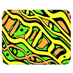 Yellow, Green And Oragne Abstract Art Double Sided Flano Blanket (medium)  by Valentinaart