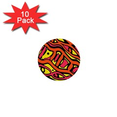 Orange Hot Abstract Art 1  Mini Buttons (10 Pack)  by Valentinaart
