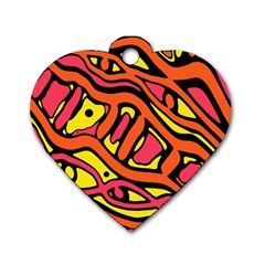 Orange Hot Abstract Art Dog Tag Heart (two Sides) by Valentinaart