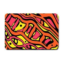 Orange Hot Abstract Art Small Doormat  by Valentinaart