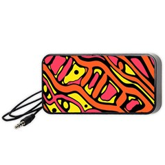 Orange Hot Abstract Art Portable Speaker (black)  by Valentinaart