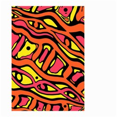 Orange Hot Abstract Art Small Garden Flag (two Sides) by Valentinaart