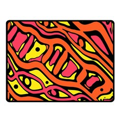 Orange Hot Abstract Art Double Sided Fleece Blanket (small)  by Valentinaart