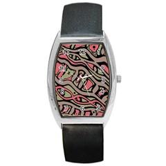 Decorative Abstract Art Barrel Style Metal Watch by Valentinaart