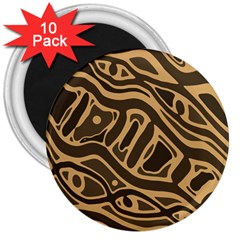 Brown Abstract Art 3  Magnets (10 Pack)  by Valentinaart