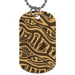 Brown Abstract Art Dog Tag (two Sides) by Valentinaart
