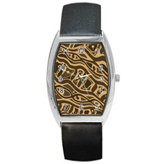 Brown Abstract Art Barrel Style Metal Watch by Valentinaart