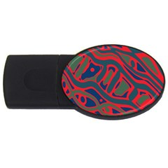 Red And Green Abstract Art Usb Flash Drive Oval (4 Gb)  by Valentinaart