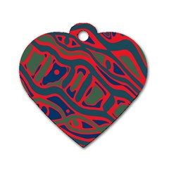 Red And Green Abstract Art Dog Tag Heart (one Side) by Valentinaart