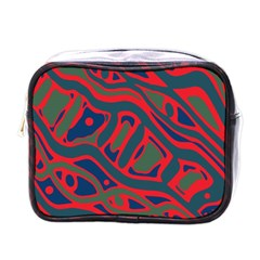 Red And Green Abstract Art Mini Toiletries Bags by Valentinaart